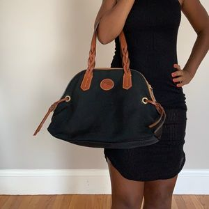 Dooney and Bourne Black Canvas Brown Leather Bag